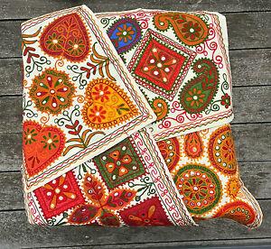 """Indian Suzani Applique Ethnic Vintage Cushion Covers 16"""" Elephant Mirror Mandala"""