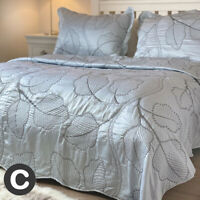 Luxury Silver Grey Shimmer Embroidered Leaf Silk Feel Double King Bedspread Set
