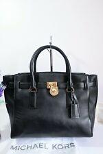 "MICHAEL KORS ""Hamilton Traveller"" Satchel Grab Bag Large Black Leather ~Dust Bag"