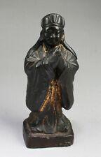 Chinese Antique Gilt Gold Bronze Scholar Statue