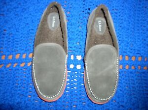 LL BEAN Men's Mountain Slippers Chocolate Brown Suede Moccasin Slippers Size 12