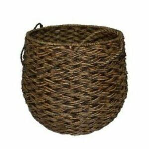 """15""""x18"""" Large Round Basket Espresso Brown Threshold Handcrafted Seagrass Setof 2"""