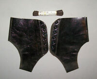 Antique Vtg 1900s Pr Victorian Leather Spats or Gaitors Lace Up Black Edwardian