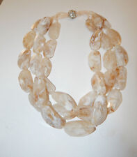 ANTHROPOLOGIE NECKLACE LUCITE MARBLE CREAM BEADS THREE TIER MAGNETIC CLOSE #500