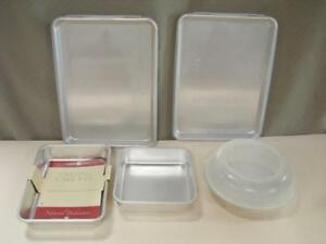 5 pcs Nordic Ware Bakeware - Brownie Pan, 2 Bakers Sheets w/lids, Cake, Pie Pan