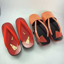 E1 Vintage 2 Pair Of  Japanese Lacquered  Wood Geta Sandals Red and Orange