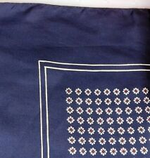 "Daisy silk scarf 26"" square vintage navy blue with flowers for men or women er"