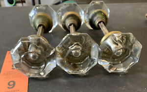 6 Matching Antique Vintage 8 Point Crystal Glass Victorian Door Knob W/spindle