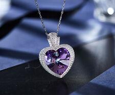 Halskette Herz Anhänger Collier mit SWAROVSKI Kristallen Silber 18K Weißgold