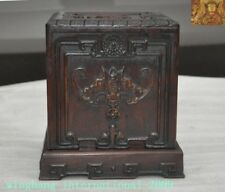 Chinese Boxwood Wood Hand carved wealth animal bat statue seal Storage box boxes
