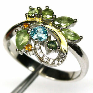 NATURAL GREEN SAPPHIRE, ZIRCON & CZ TWO TONE RING 925 STERLING SILVER SIZE 7.75