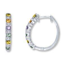 Natural Multicolored Sapphire Gemstone Hoop Earrings in Sterling Silver