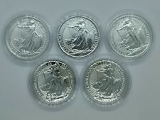 More details for 5 x silver britannia 1 oz silver bullion coins 2020, coin capsules included