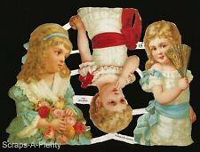 German Embossed Scrap Die Cut - Precious Victorian Girls / Children   EF7095