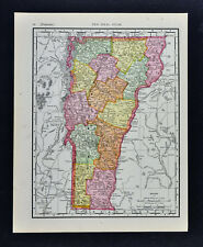 1911 McNally Map - Vermont Montpelier Woodstock Rutland Burlington Middlebury Vt