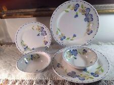 Casual Living Fairfield Pansies  NIKKO 2 Dinner Plates, 2 bowls, 1 Salad Plate