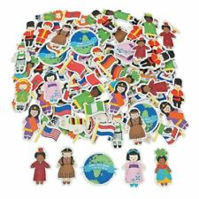 """100pc """"kids around the world"""" foam stickers - multicultural stickers for craft"""