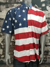 Roper Western Shirt Mens XL USA Flag Red White Blue short sleeve