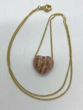 Tiffany & Co 18k Yellow Gold 16 Inch Necklace Rhodochrosite Heart Pendant