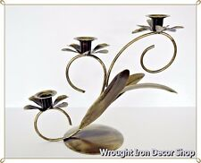 Wrought Iron Candle Stand Metal 3 Candlestick Holder Floral Standing