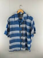 Gachu Mens Blue White Striped Vintage Short Sleeve Button Up Shirt Size Large