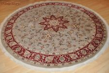 ROUND RUG 7x7 ft. Top quality Silk & Wool siege green 200 Knots per square inch