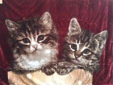 Tagesdecke Kuscheldecke Decke Plaid mit Motiv 2 Katzen (rot) 160x200cm