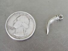 Vintage Sterling Silver Charm 3D Horn Bull Texas Hollow Curved Pointed Mammals
