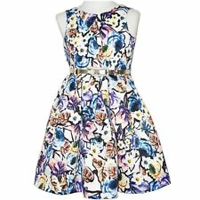GIRLS size 16 lined purple FLORAL Party DRESS gold belt NEW Formal graduation