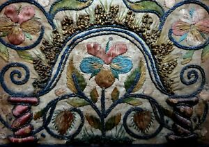 17th Century English / Flemish Antique Stumpwork Embroidery Tapestry