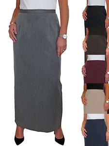 Ladies Fully Lined Maxi Skirt Smart Tailored Office Day Evening 10-24