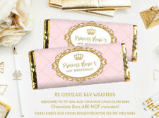 8x Princess Chocolate Bar Wrappers Pink Faux Gold Party Favours PERSONALISED