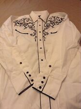 Western Express Mens WHITE EMBROIDERED Shirt - M  Size Long Sleeve