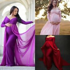 Baby Shower Jersey Dress Maternity Photography Prop Long Pregnancy Chiffon Gown
