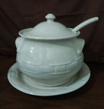 Longaberger Pottery Woven Traditions Large Soup Tureen Ivory 4 Piece