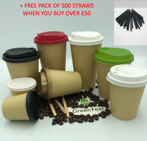 100 x BROWN PAPER CUPS DISPOSABLE KRAFT PAPER CUPS FOR HOT DRINKS WITH LIDS