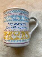 Vintage RARE 1984 MAY YOUR DAY BE FILLED WITH HAPPINESS Ceramic Coffee Mug Cup