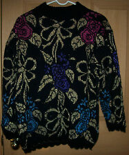 Dana Scott Black Metallic Floral Motif Holiday Pullover/Sweater Size L Made in U