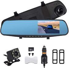 4.3'' HD 1080P Dual Lens Car DVR Mirror Dash Cam Recorder 32G Memory Card