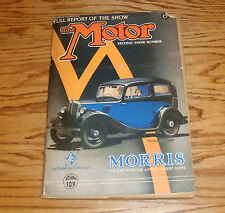 Original 1934 October The Motor Magazine Second Show Number Car Truck Automobile
