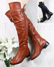 NEW LADIES WOMEN OVER THE KNEE BOOTS LOW FLAT HEEL HIGH WIDE CALF FIT BOOTS SIZE