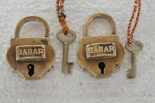 2 Pc Old Aligarh Brass Pad locks With BABAR Engraved
