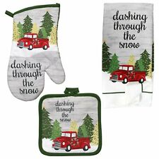 New Listing5 Pc Set Christmas Red Truck Snow Kitchen Hand Towels Pot Holders Oven Mitt New