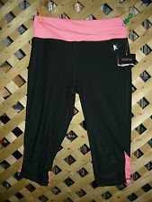 Danskin Now Dri-More Black & Pink Stretch Athletic Capri Pants Size S (4-6) NWT