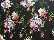 "Colorful Spring daisy flower bouquet chiffon fabric on black, 59"" by 34.5""."