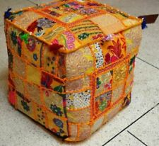 """18""""  Indian Vintage Handmade Patchwork Ottoman Footstool Square Pouf Cover Throw"""