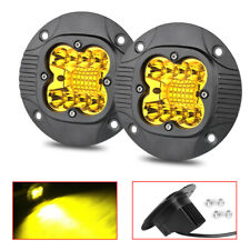 2X 30W Round 5Inch Flush Mount LED Work Light Bars Combo OffRoad Driving Yellow