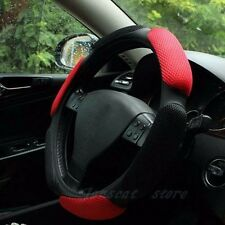 "38cm 15"" Black-red No Smell Sandwich Rubber Car Steering Wheel Cover Anti-slip"