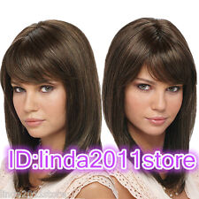 Light Brown Shoulder Length Straight Synthetic Quality Women's Medium Wig