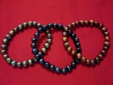 Freshwater Green, Brown & Midnight Blue Pearl Set of 3 Bracelets (Stretchable)